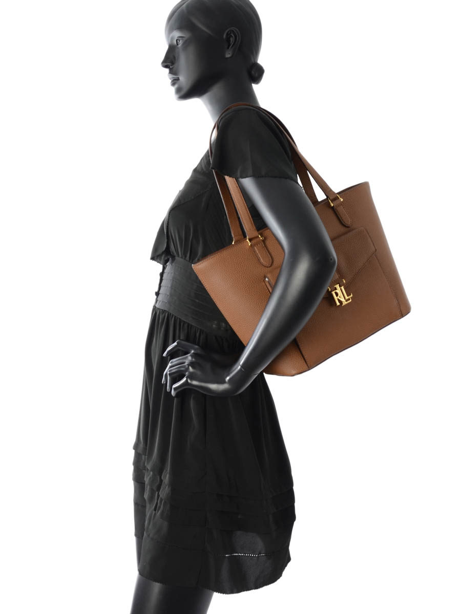Sac Porté épaule Carrington Cuir Lauren ralph lauren Marron carrington N91XZAFV-vue-porte
