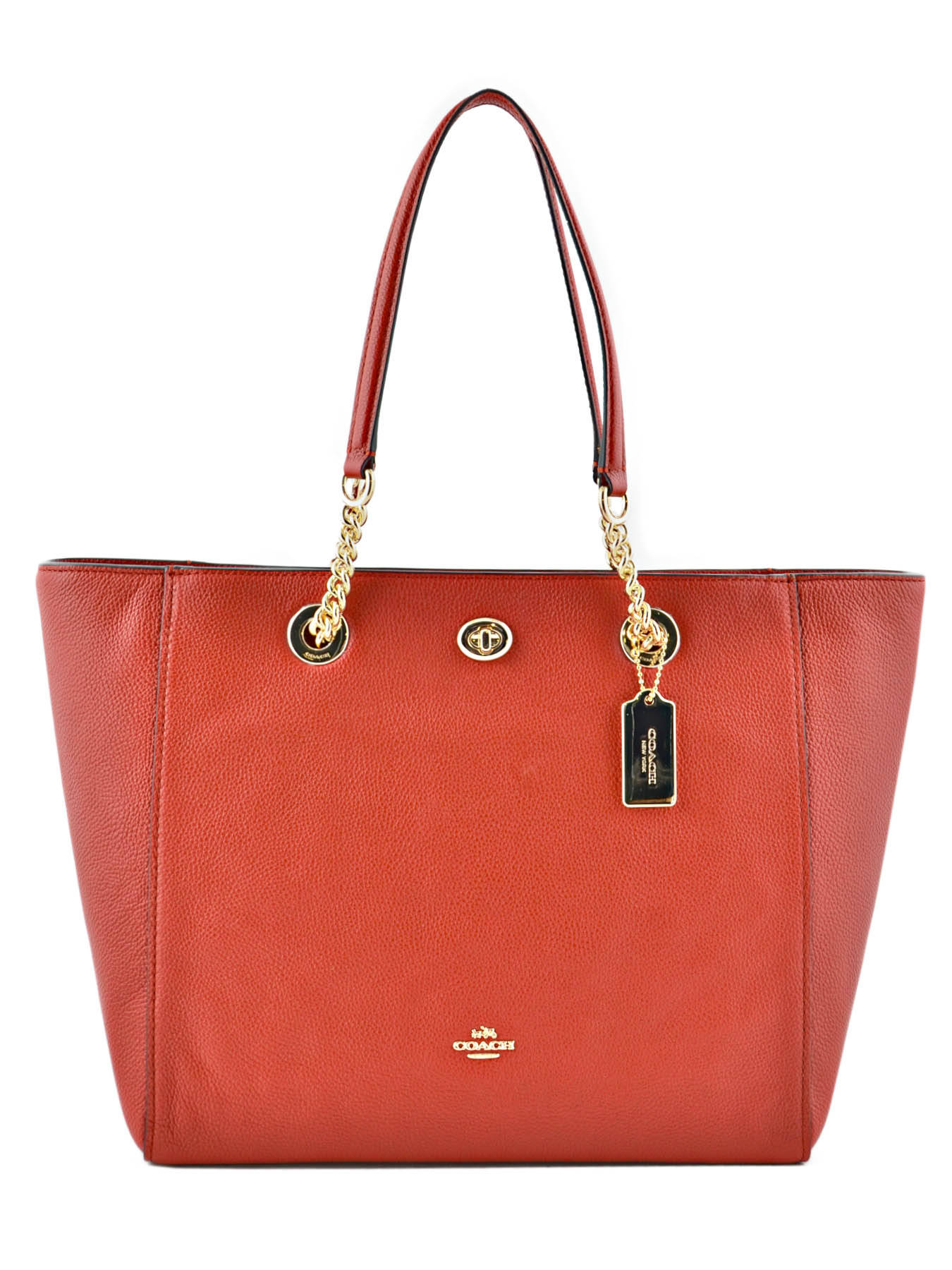 Cabas Turnlock Chain Tote Cuir Coach Rouge tote 56830