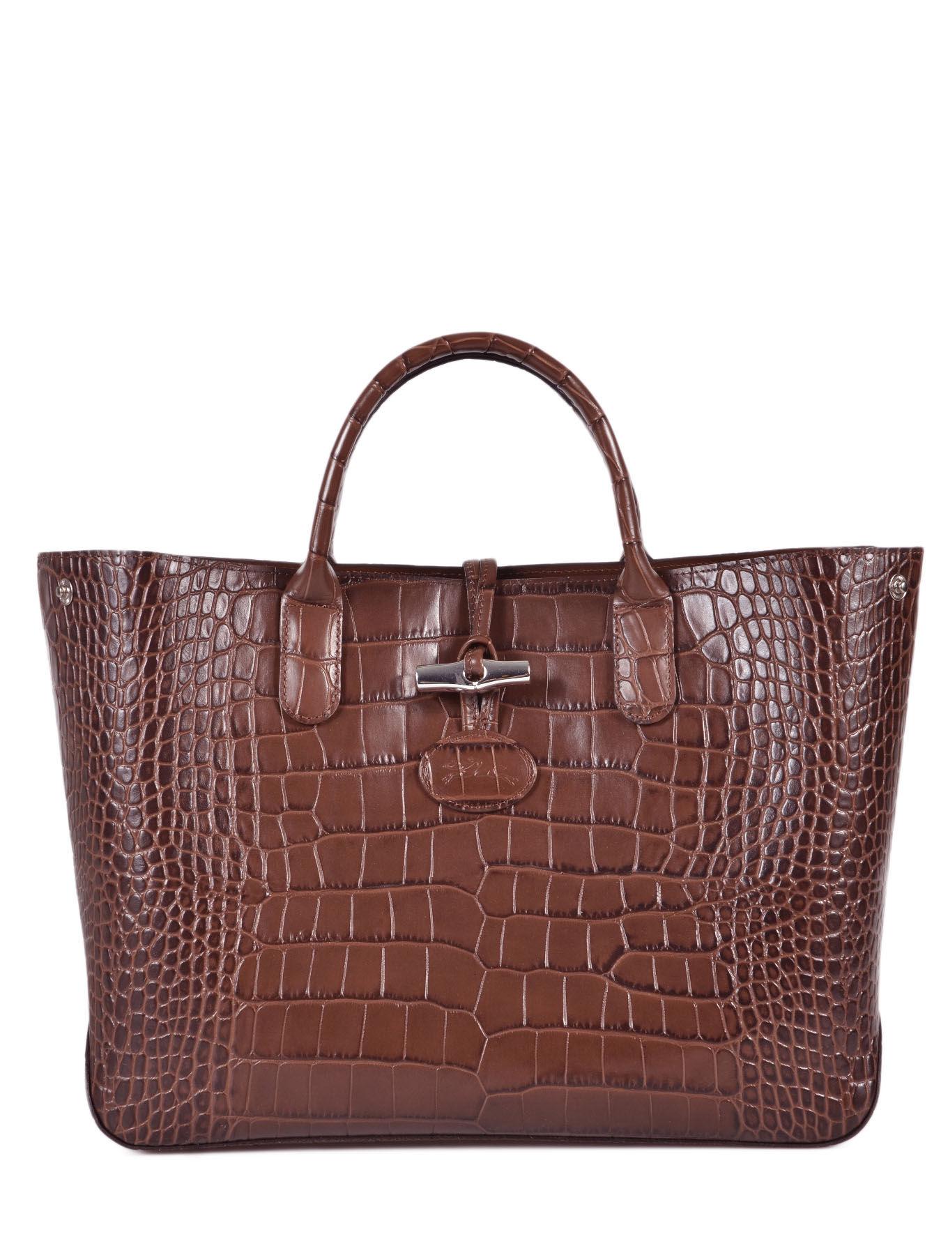 Sac Longchamp Roseau Porté épaule : Sac port main longchamp roseau croco sur