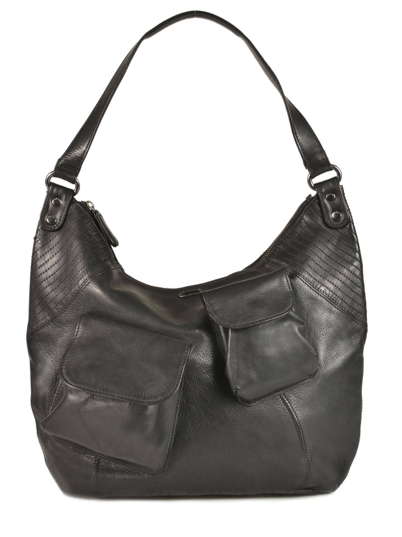 460a0a607b ... Sac Besace Mrs Fisher Heritage Cuir Ikks Noir les heritiers BK95119 ...