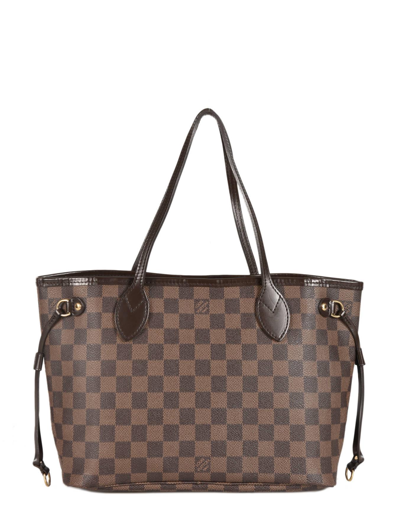 4d59e920ce ... Sac Porté épaule D'occasion Louis Vuitton Neverfull Damier Ebene  Brand connection ...