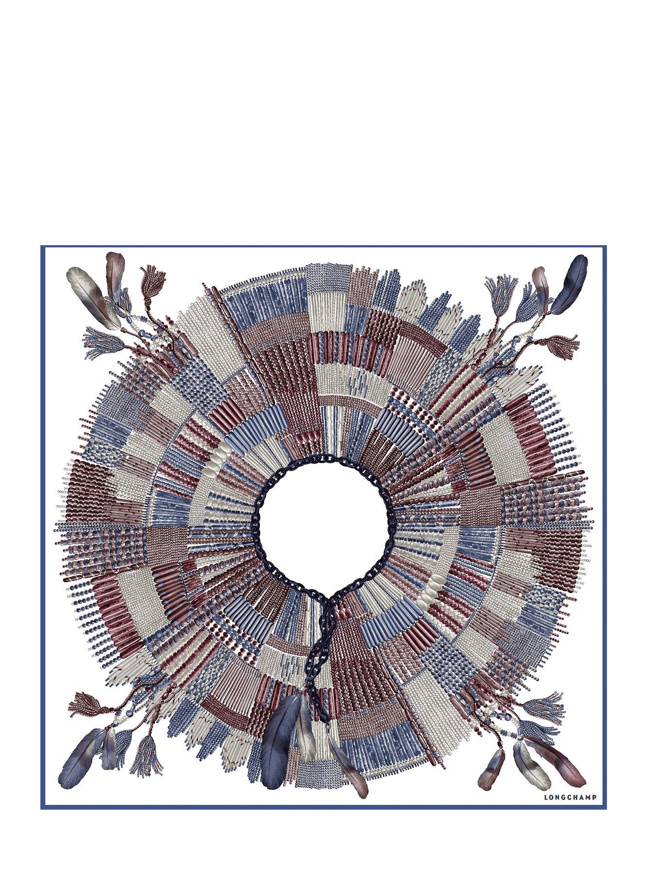 Carré de soie 90x90 Collier Massaï LONGCHAMP