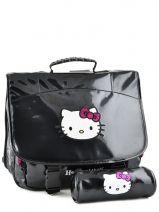 Cartable 2 Compartiments Avec Trousse Assortie Hello kitty Noir classic dot's HPR23081