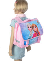 Cartable 2 Compartiments Frozen Multicolore anna et elsa 13433-vue-porte