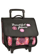Cartable A Roulettes Miniprix Noir beautiful flower 1205