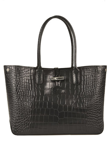 Longchamp Roseau Croco Sac porté travers Noir
