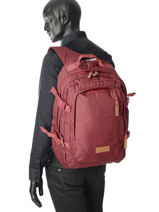 Sac à Dos 3 Compartiments Eastpak Rouge pbg core series PBGK207-vue-porte