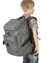 Sac A Dos 2 Compartiments Kipling Gris back to school 16199-vue-porte