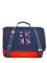 Cartable 1 Compartiment Ikks Bleu union jack russel 35854