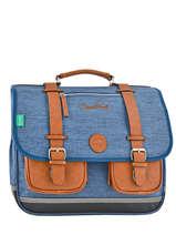 Cartable 3 Compartiments 41cm Cameleon Bleu vintage VINCA41