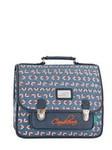 Cartable 2 Compartiments Cameleon Bleu retro RET-CA35