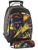 Sac A Dos A Roulettes 1 Compartiment + Trousse Quiksilver Noir youth access kids QYBP3033