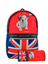 Sac A Dos 2 Compartiments + Trousse Offerte Teo jasmin Rouge red star TEI22038