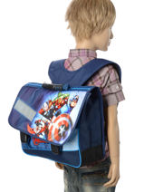 Cartable 2 Compartiments Avengers Bleu shield AVL13007-vue-porte