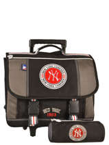 Cartable A Roulettes 2 Compartiments Avec Trousse Mlb/new-york yankees Noir team MNM13006