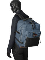 Sac A Dos 2 Compartiments Eastpak Bleu authentic K050-vue-porte