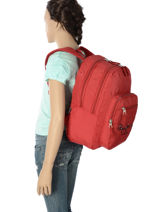 Sac A Dos 2 Compartiments Pepe jeans Rouge harlow 66824-vue-porte