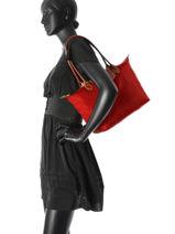 Longchamp Schoudertas Rood-vue-porte