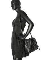 Sac Bandouliere Pur Floral Cuir Lancaster Noir pur floral 528-55-vue-porte