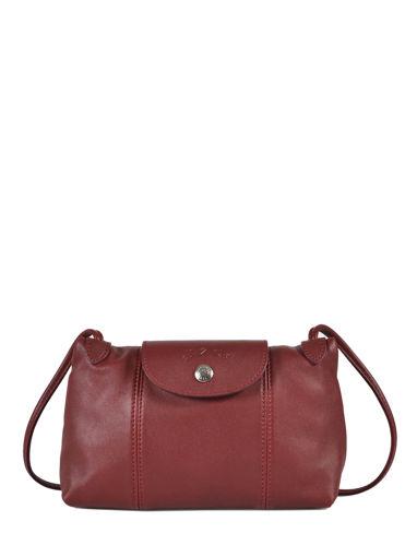 Longchamp Le pliage cuir Sac porté travers Rouge