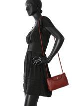 Longchamp Le pliage cuir Sac porté travers Rouge-vue-porte