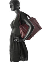 Sac Shopping Le Doc Heritage Cuir Ikks Violet les heritiers BK95409-vue-porte