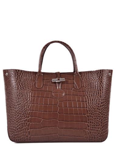 Longchamp Roseau Croco Sac porté main Marron