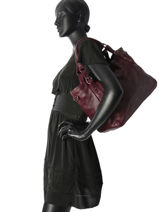 Sac Shopping The Artist Cuir Ikks Violet heritage BK95089-vue-porte