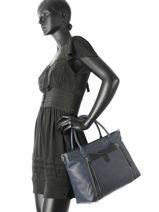 Sac Shopping Authentic Soft Cuir Lancaster Bleu authentic soft 578-63-vue-porte