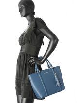 Cabas Mademoiselle Ana Cuir Lancaster Bleu mademoiselle ana 573-18-vue-porte