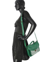 Cross Body Tas Vintage Leder Paul marius Groen vintage GEORGE-vue-porte