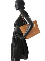 Shoppingtas Turnlock Chain Tote Leder Coach Bruin tote 57107-vue-porte