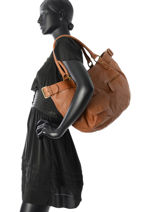 Sac Shopping Fisherboy Heritage Cuir Ikks Marron les heritiers BK95049-vue-porte