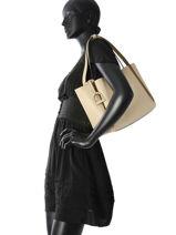 Sac Shopping Kyo Cuir Etrier Beige kyo EKY602-vue-porte