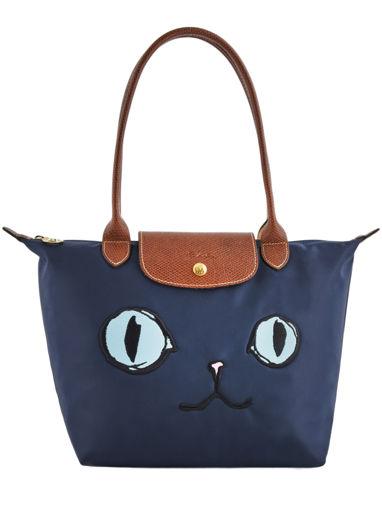 Longchamp Le Pliage « Miaou » Sac porté travers Bleu