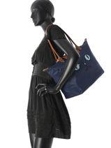 Longchamp Le Pliage « Miaou » Sac porté travers Bleu-vue-porte