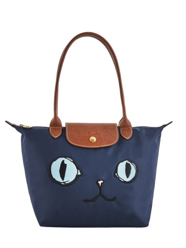 Longchamp Le Pliage « Miaou » Sac porté travers Bleu
