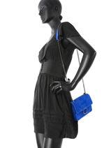 Sac Bandoulière Velvet Milano Bleu velvet VE17111-vue-porte