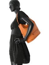 Longchamp Besace Orange-vue-porte