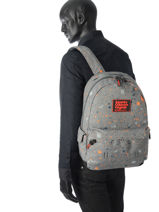 Sac à Dos 1 Compartiment Superdry Gris backpack men M91004JQ-vue-porte