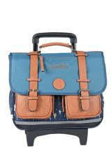 Cartable à Roulettes 2 Compartiments Cameleon Bleu vintage VINCA38R