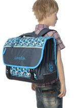 Cartable Enfant 3 Compartiments Cameleon Bleu new basic NBA-CA41-vue-porte