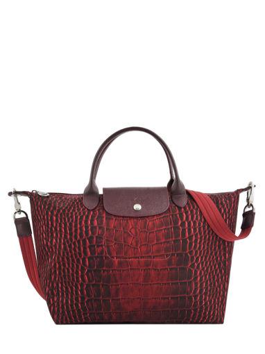 Longchamp Le pliage croco Sac porté main Rouge