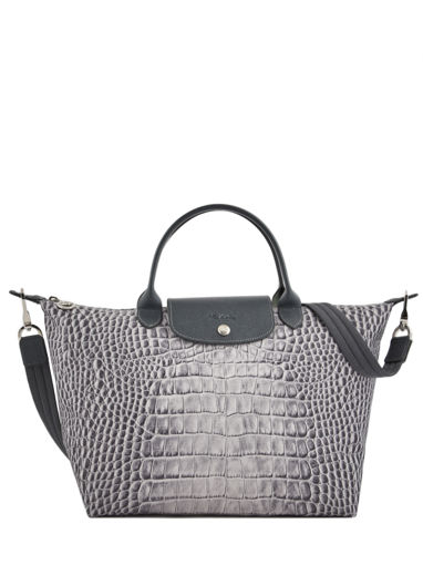 Longchamp Le pliage croco Sac porté main Gris