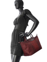 Longchamp Le pliage croco Sac porté main Rouge-vue-porte