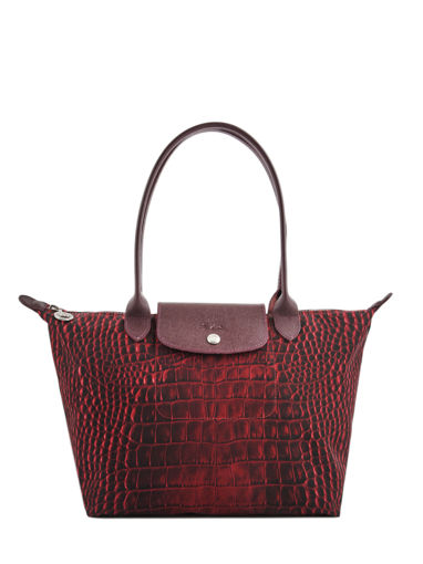 Longchamp Le pliage croco Besace Rouge