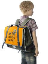 Cartable 2 Compartiments Ikks Jaune backpacker in tokyo 18-38836-vue-porte