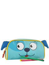 Trousse 1 Compartiment Animal Bleu kids KIDEI01-vue-porte