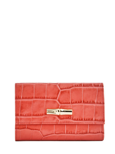 Longchamp Roseau style croco Portefeuille Rouge