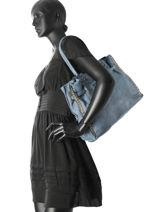 Sac Shopping Cuir Milano Bleu dewashed DE17115-vue-porte